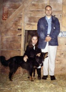 """My parents in the 1970's with """"Bingo"""", Uncle Anton's dog. Dad being silly for the camera."""